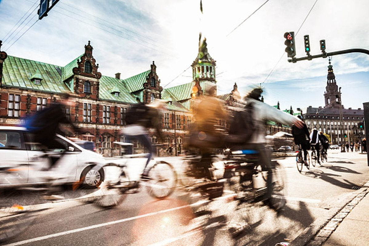 In Copenhagen, the capital of Denmark, the traffic is mostly from cyclists.