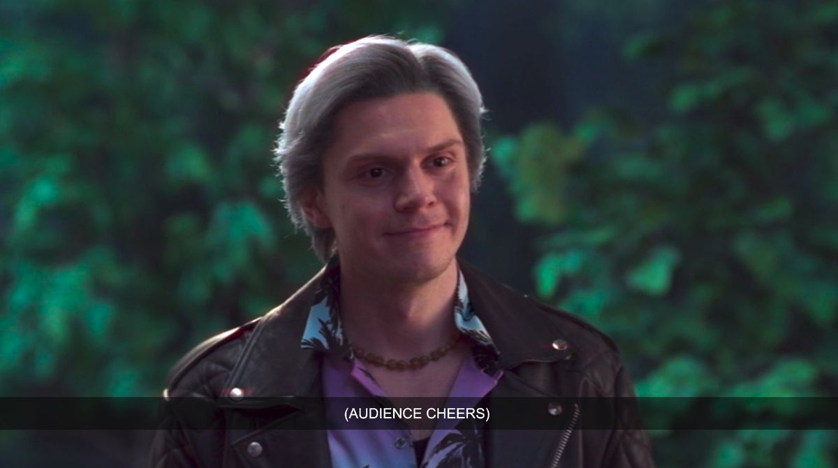 Evan Peters as Pietro Maximoff aka Quicksilver in WandaVision standing in the door wearing a leather jacket and Hawaiian shirt like a wacky sitcom brother character