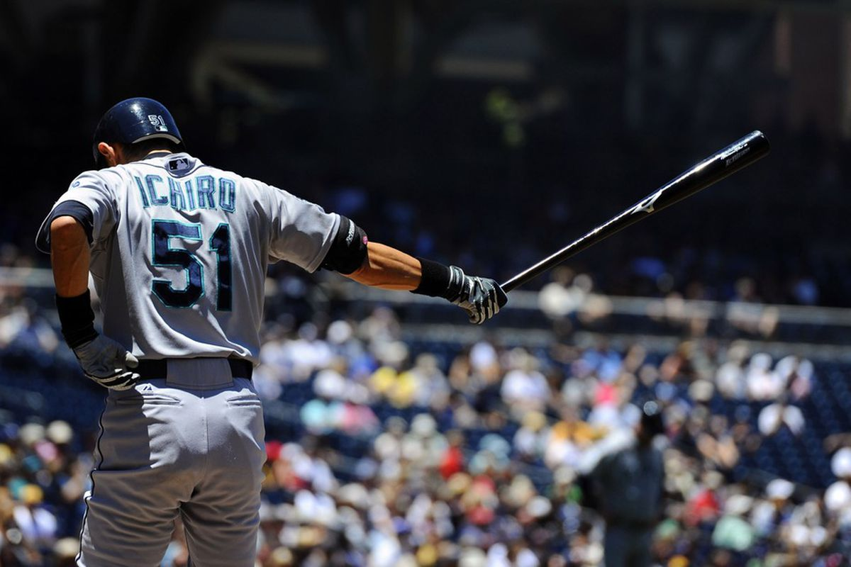 June 24, 2012; San Diego, CA, USA;  Seattle Mariners right fielder Ichiro Suzuki (51) during his at bat in the first inning against the San Diego Padres at Petco Park.  Mandatory Credit: Christopher Hanewinckel-US PRESSWIRE