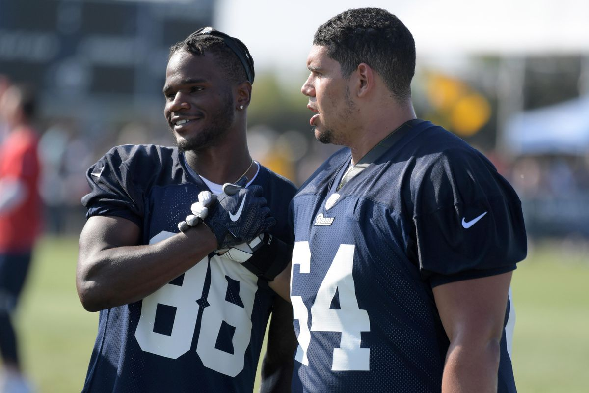 Los Angeles Rams WR Michael Thomas and OL Jamil Demby during training camp, July 28, 2018.