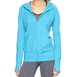 """<b>GapFit</b> Breathe Hoodie in Bright Tuquoise, <a href=""""http://www.gap.com/browse/product.do?cid=83065&vid=1&pid=600657022"""">$49.95</a>"""