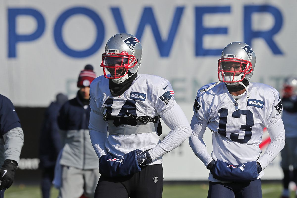 New England Patriots wide receivers Mohamed Sanu and Phillip Dorsett take part in New England Patriots practice at Gillette Stadium in Foxborough, MA on Nov. 13, 2019.