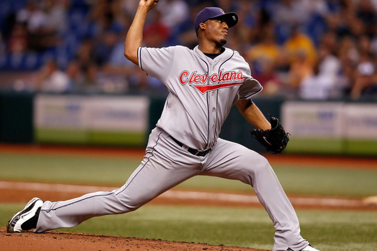 ST PETERSBURG, FL - MAY 17:  :  Pitcher Fausto Carmona #55 of the Cleveland Indians pitches against the Tampa Bay Rays during the game at Tropicana Field on May 17, 2010 in St. Petersburg, Florida.  (Photo by J. Meric/Getty Images)