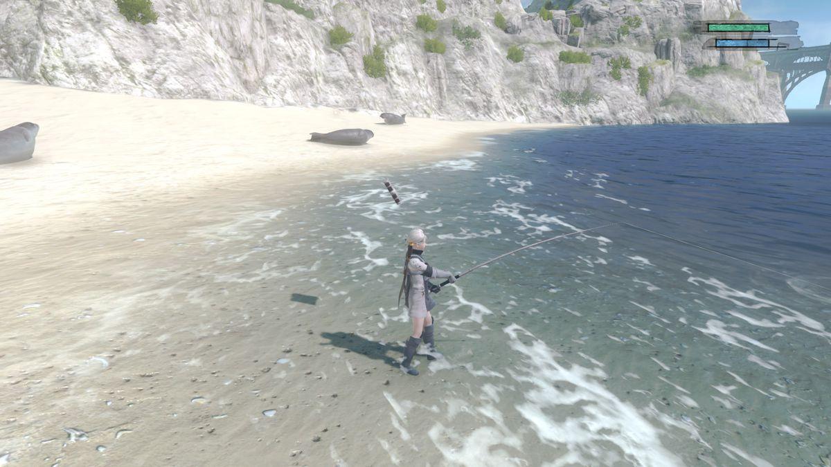 Nier goes fishing in a beautiful ocean in Nier Replicant.