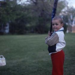 An early round of BP (with a bat that looks about as long as I am)