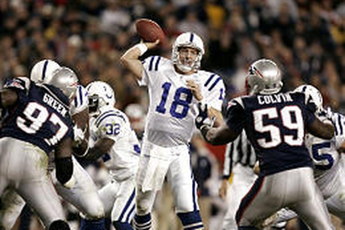 Colts QB Peyton Manning doesn't have to throw every down anymore.