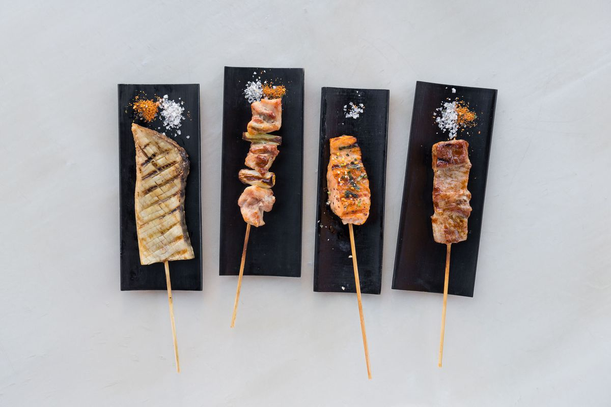 From left: King trumpet, yuzu chicken, ocean trout, and pork cheek skewers at Mordeo Boutique Wine Bar.