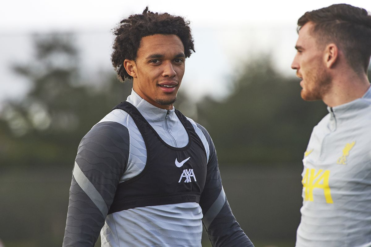 rent Alexander-Arnold of Liverpool during a training session at AXA Training Centre on September 27, 2021 in Kirkby, England.