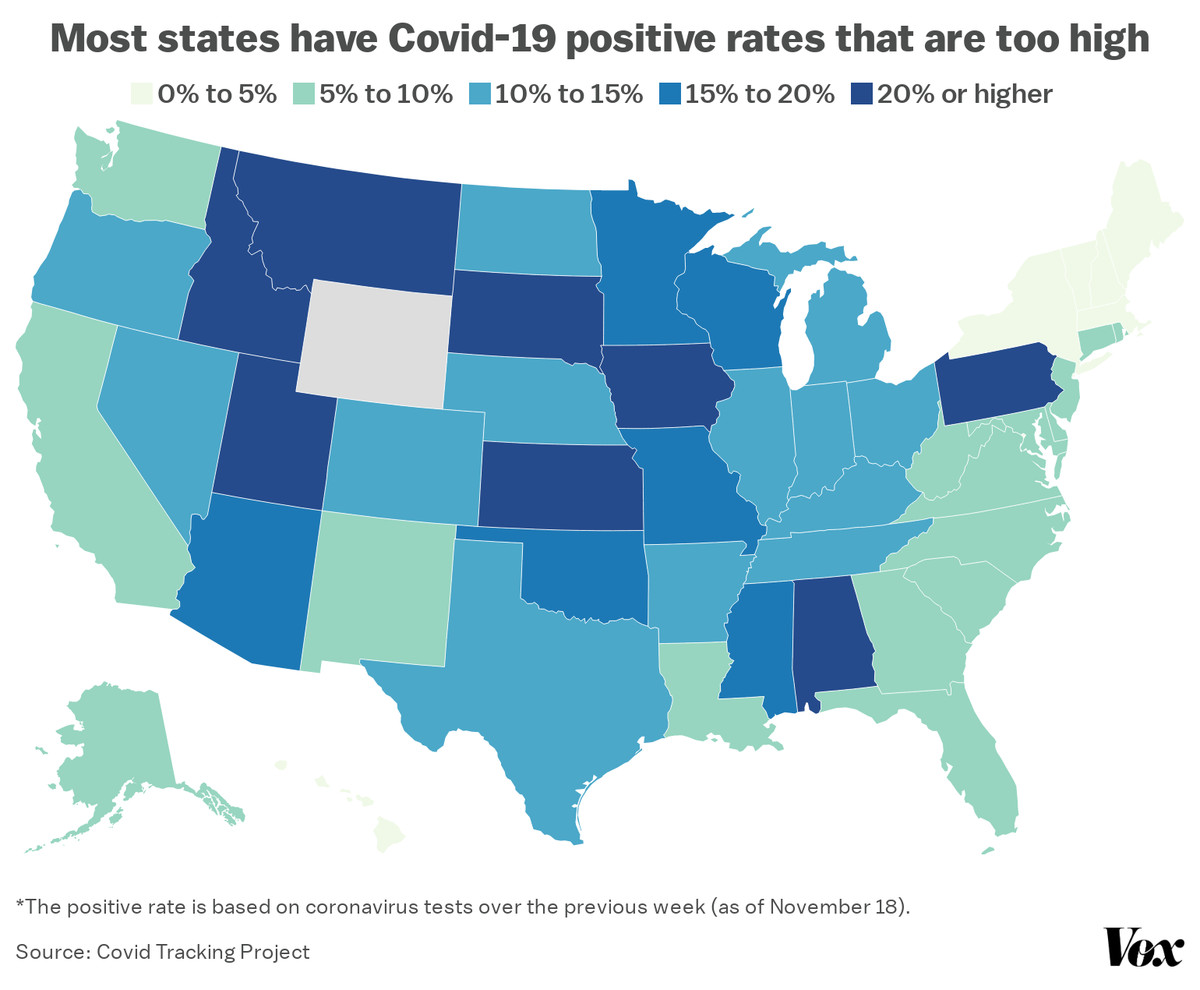 A map of the positive Covid-19 rates in each state.