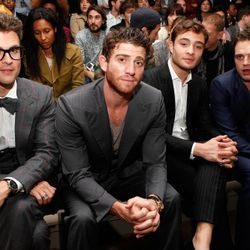 (L-R) Stylist Brad Goerski and actors Bryan Greenberg and Ed Westwick (Photo by Cindy Ord/Getty Images)