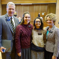 Elder Richard Norby, Sister Haylie VanDenBerghe, Sister Fanny Clain and Sister Pam Norby pose for a photograph together after a recent meeting, prior to the Brussels attacks.
