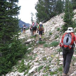 Hikers on the small path to Davenport Hill and Silver Fork Canyon.Hikers on the small path to Davenport Hill and Silver Fork Canyon.