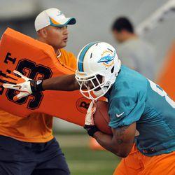 Jun 11, 2013; Davie, FL, USA; Miami Dolphins tight end Dion Sims (80) runs through practice drills at the Doctors Hospital Training Facility at Nova Southeastern University.