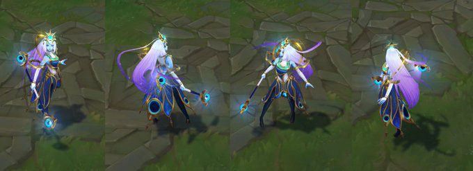 Cosmic Lux's ingame turnarounds. She's colored with a light blue and purple glow