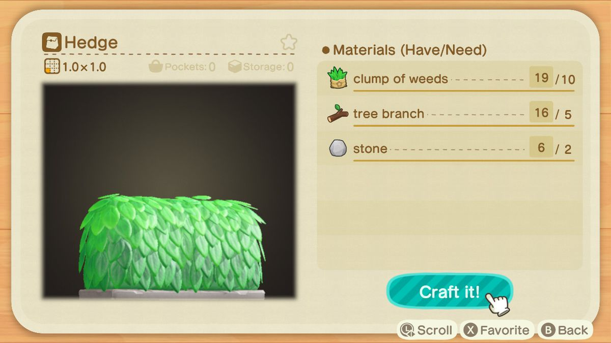 An Animal Crossing recipe for a Hedge