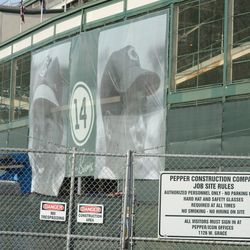 5:20 p.m. The best view of the Ernie Banks banners from Clark Street -