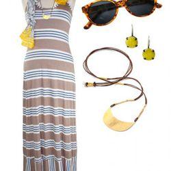 Splendid Palm Stripe Maxi Dress, $158; Michael Stars Silk Pop Paisley<br />Scarf, $58; AJ Morgan Thelma Sunglasses, $20; Jane Diaz Yellow Jade<br />Earrings, $65; Jeanine Payer Small Bay Brass Necklace, $256.