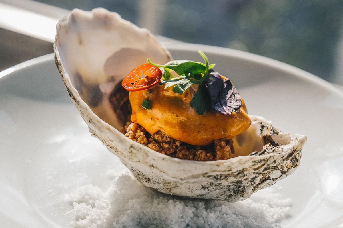 A seafood dish on the half shell from Townsend
