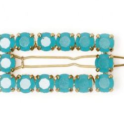 Rectangular Barrettes- Kate Spade $42<br />The ocean blue stones in this sophisticated clip are the perfect addition to sleek pincurls or beachy waves. Pair with a slim white dress for a cocktail party or night on the town.