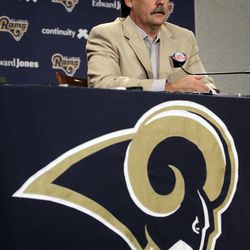 St. Louis Rams head coach Jeff Fisher speaks about the Rams' prospects in the upcoming NFL football draft on Wednesday, April 25, 2012, at the teams' training facility in St. Louis.