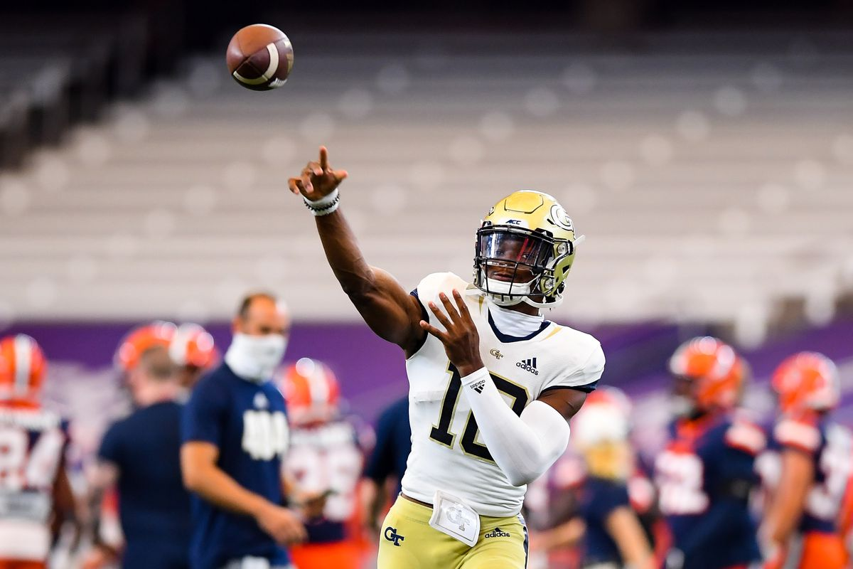 Georgia Tech Yellow Jackets quarterback Jeff Sims warms up prior to the game against the Syracuse Orange at the Carrier Dome.