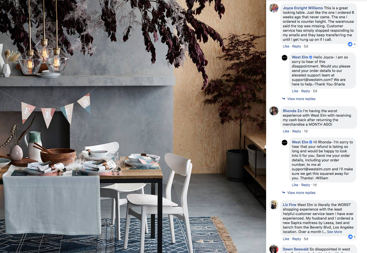 A Post On West Elm S Facebook Page With Customer Complaints