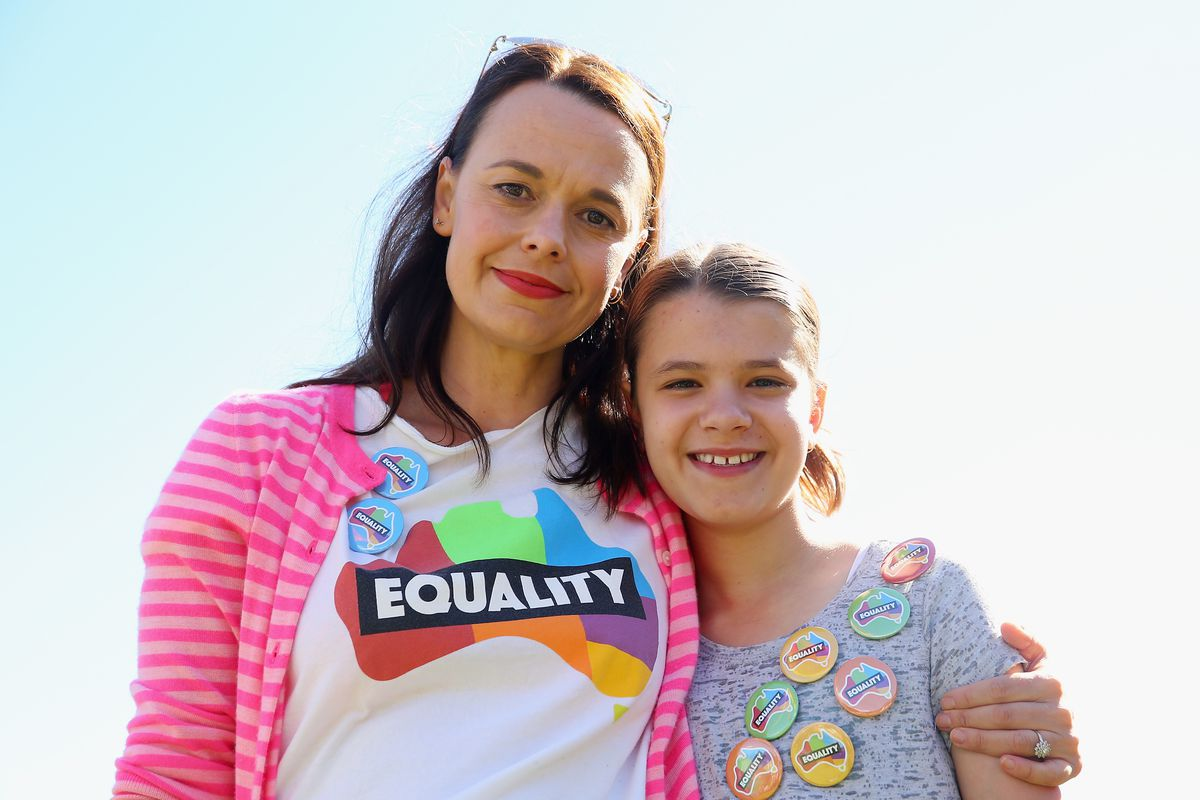 Mia Freedman and daughter Coco Lavigne look prior to the result announcement on November 15, 2017 in Sydney, Australia. Australians have voted for marriage laws to be changed to allow same-sex marriage, with the Yes vote claiming 61.6% to to 38.4% for No