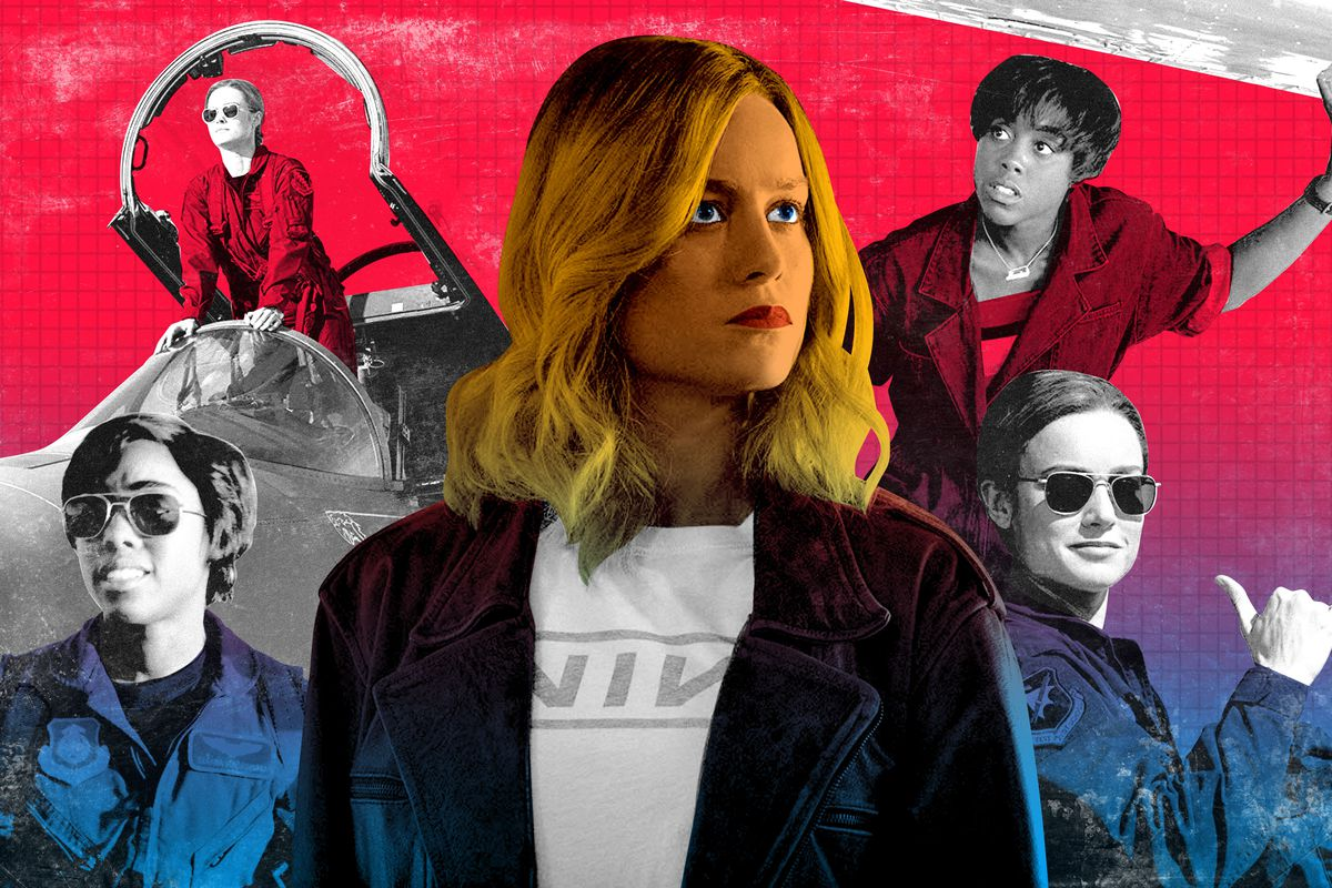 Brie Larson as Captain Marvel surrounded by other characters in 'Captain Marvel'