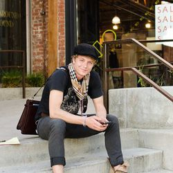 """<a href=""""http://la.racked.com/archives/2011/02/28/deven_at_space_15_twenty.php"""" rel=""""nofollow"""">Deven</a>'s boots are from AllSaints, his pants are from Express, his shirt is RVCA, and his scarf is from Burberry. <br /><br />Photo by <a href=""""http://www.je"""
