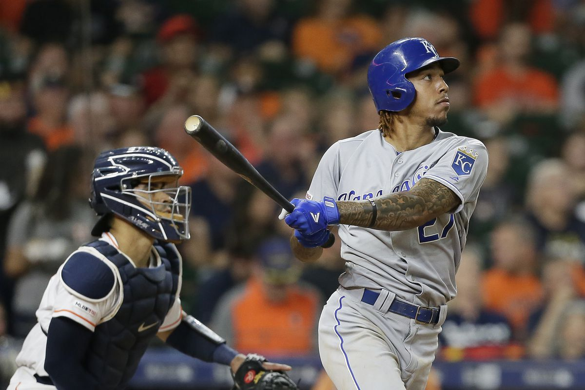 Adalberto Mondesi #27 of the Kansas City Royals hits a two-run home run in the fifth inning against the Houston Astros at Minute Maid Park on May 06, 2019 in Houston, Texas.