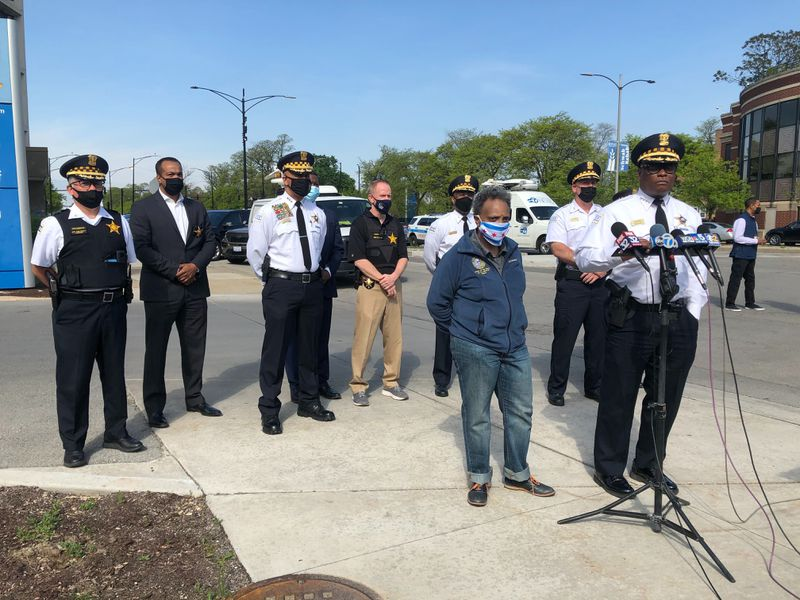 Chicago police Supt. David Brown and Mayor Lightfoot speak to reporters outside Mt. Sinai Hospital after two officers were shot May 16, 2021, in Lawndale.