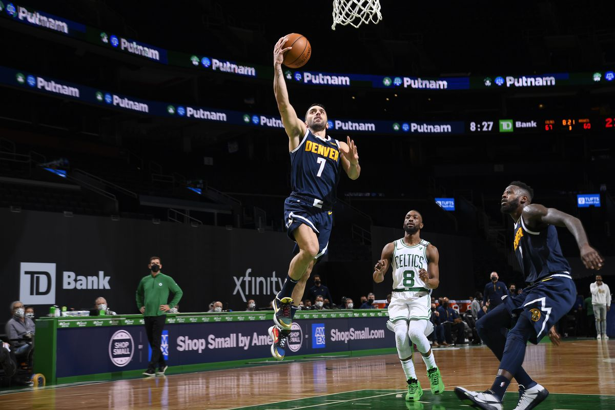Facundo Campazzo #7 of the Denver Nuggets shoots the ball during the game against the Boston Celtics on February 16, 2021 at the TD Garden in Boston, Massachusetts.