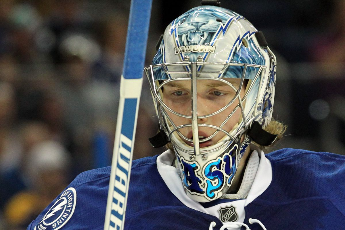 Rookie goaltender Andrei Vasilevskiy stopped 28 shots and earned his first NHL shutout as the Tampa Bay Lightning beat the Buffalo Sabres 3-0 Tuesday night in Tampa.
