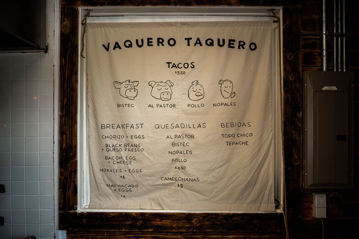 The menu at Vaquero Taquero