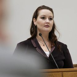 Gypsy Willis testifies during Martin MacNeill's murder trial in 4th District Court in Provo Thursday Nov. 7, 2013.
