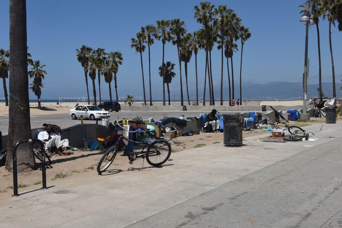 Homeless encampments at Venice Beach