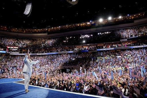 Democratic presidential candidate Hillary Clinton waves to the crowd as she takes the stage to speak during the fourth day session of the Democratic National Convention in Philadelphia, Thursday, July 28, 2016. | AP Photo/Andrew Harnik