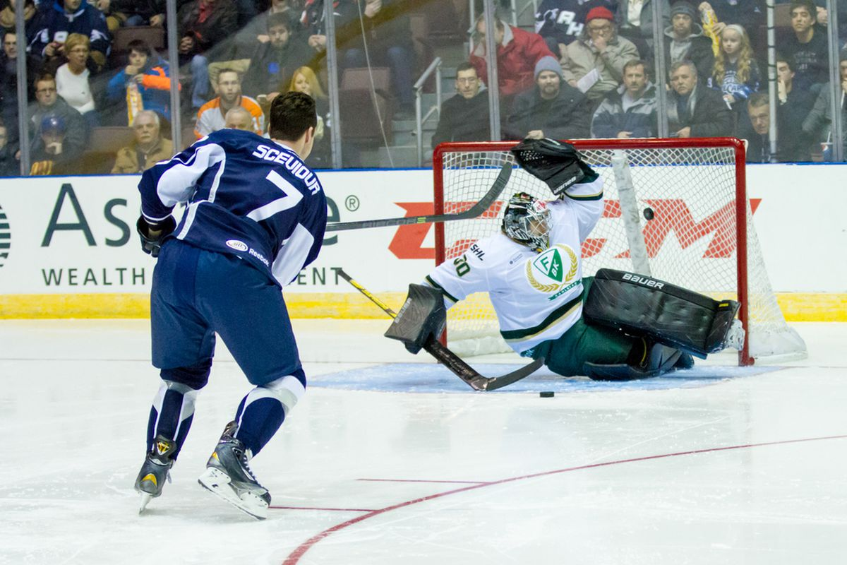 Colton Sceviour scores on Farjestad in the skills competition.