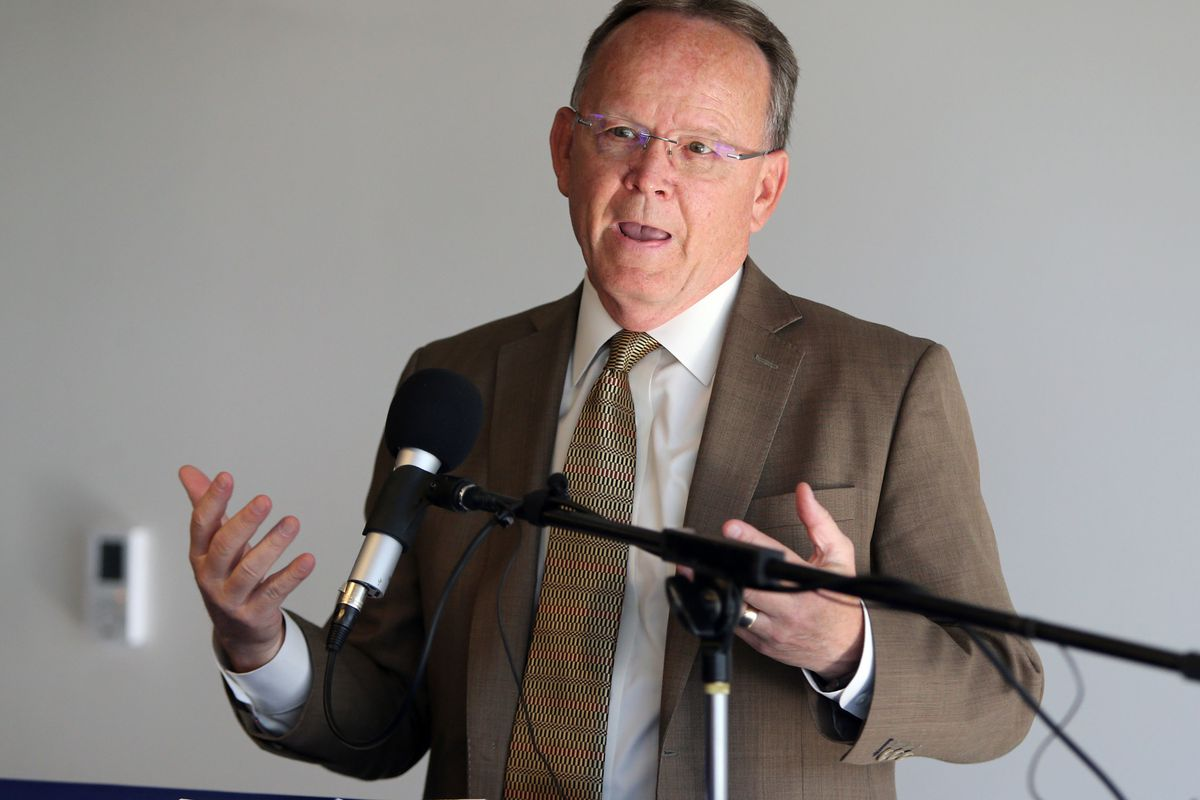 Sen. Stuart Adams, R-Layton, speaks at a press conference launching the Utah Department of Transportation's I-15 Technology Corridor construction project at the Rain office in Lehi on Wednesday, April 25, 2018. The Layton Republican announced in a letter
