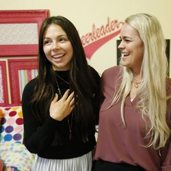 Actress Tatum Chiniquy, left, meets with Heather Hansen in West Haven on Nov 20, 2016. Hansen's daughter Kennedy died in June 2014 and is portrayed in a movie by Chiniquy.