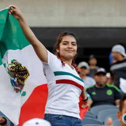 July 7, 2019 - Chicago, Illinois, United States - A Mexico fan dances with a flag before the Gold Cup Final at Soldier Field.