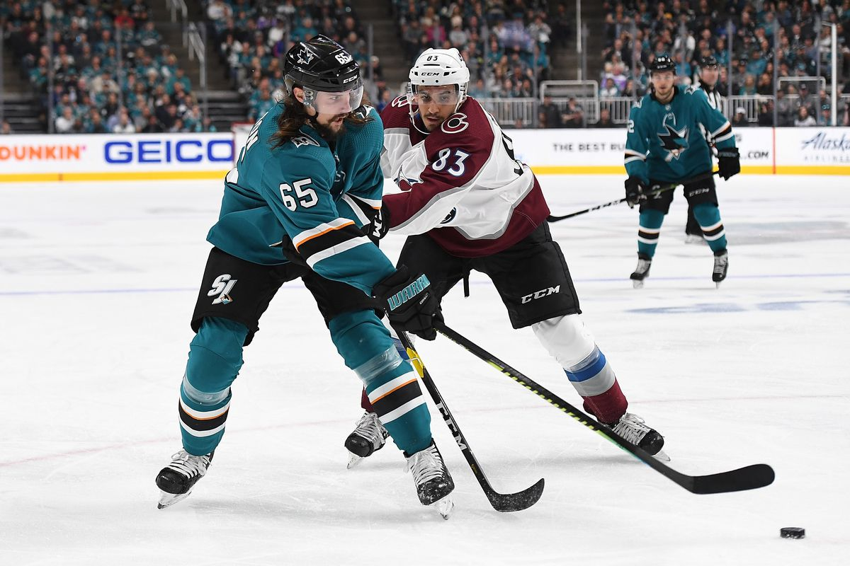 Erik Karlsson of the San Jose Sharks gets his pass by the stick of Matt Nieto of the Colorado Avalanche during the second period in Game 5 of the Western Conference Second Round during the 2019 NHL Stanley Cup Playoffs at SAP Center on May 4, 2019 in San