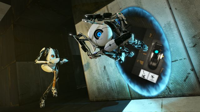 Atlas and P-body jump through a portal in <em>Portal 2</em>.