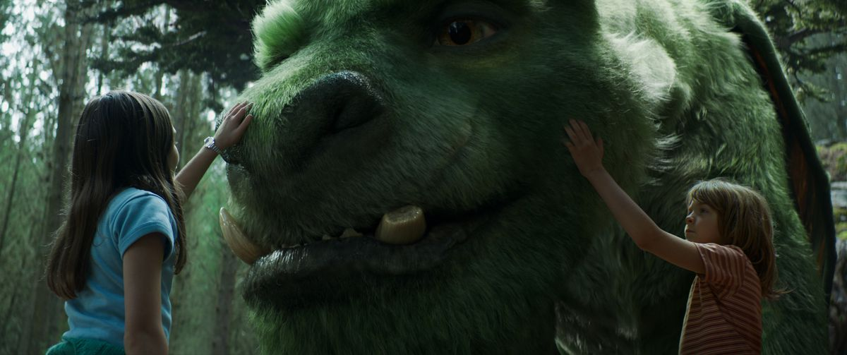Pete's Dragon (2016) - Natalie and Pete touch Elliot's face