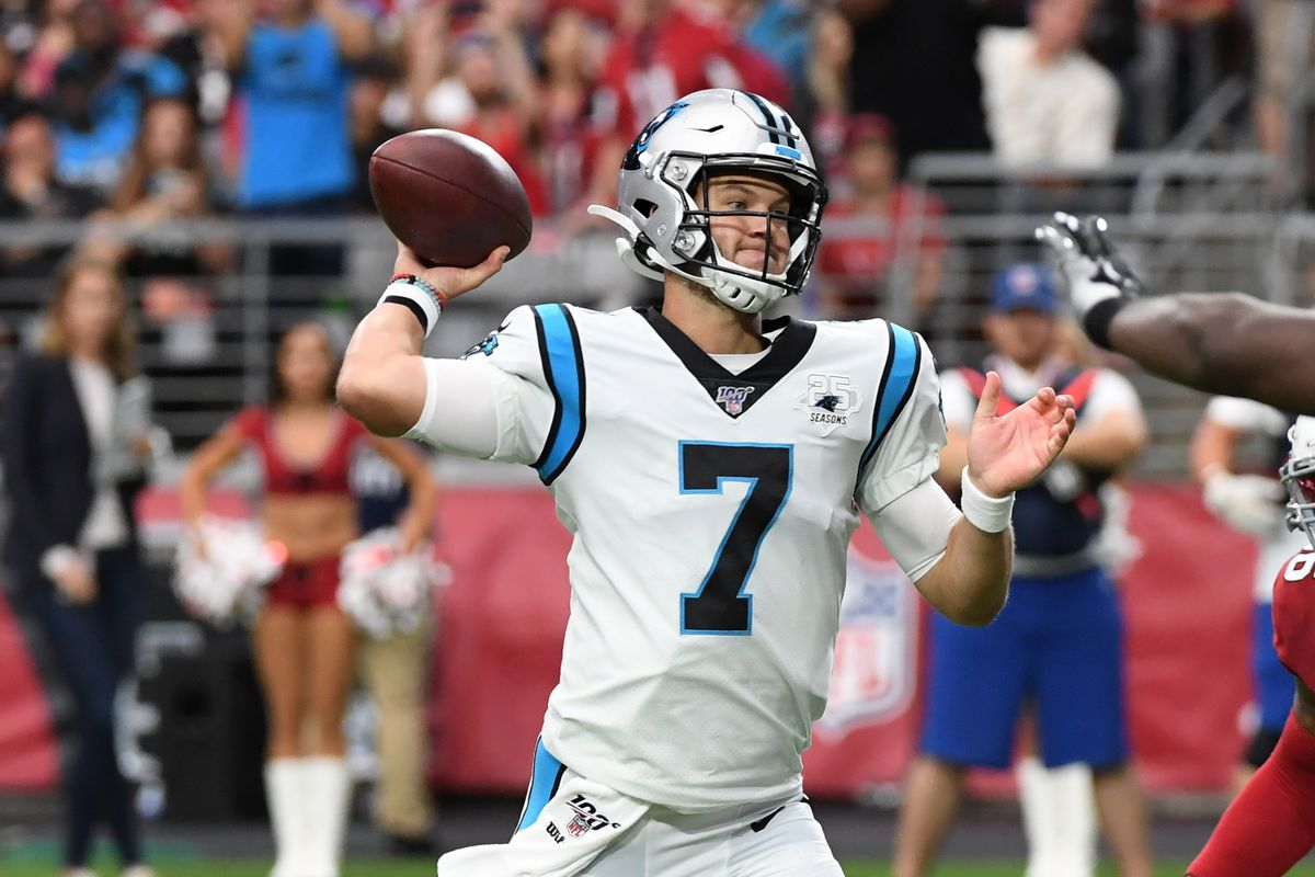 Kyle Allen of the Carolina Panthers throws the ball against the Arizona Cardinals at State Farm Stadium on September 22, 2019 in Glendale, Arizona.