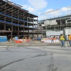 Dec 1: Plaza building viewed through open gate on Clark Street -