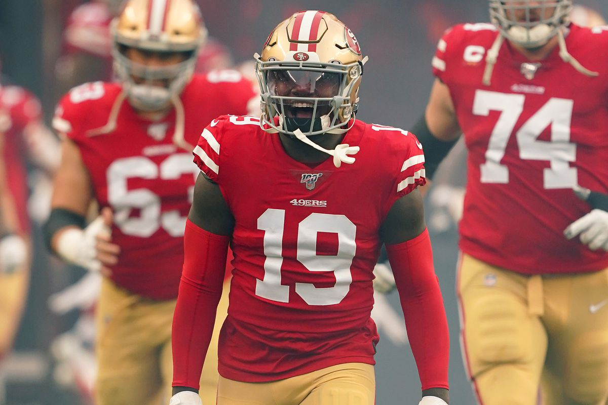 Deebo Samuel #19 of the San Francisco 49ers runs onto the field prior to the start of the NFC Championship game against the Green Bay Packers at Levi's Stadium on January 19, 2020 in Santa Clara, California.
