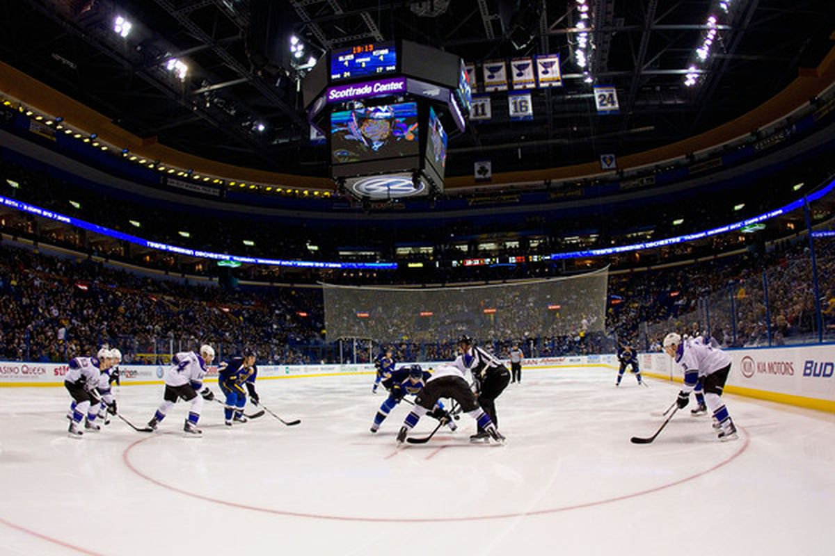 ST. LOUIS MO - DECEMBER 16: The St. Louis Blues face-off against the Los Angeles Kings at the Scottrade Center on December 16 2010 in St. Louis Missouri.  The Blues defeated the Kings 6-4.  (Photo by Dilip Vishwanat/Getty Images)