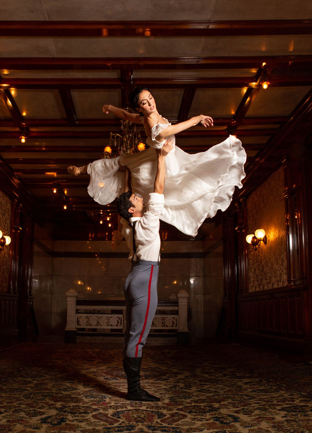 Victoria Jaiani and Alberto Velazquez are photographed at the Driehaus Museum for the Joffrey Ballet's production of