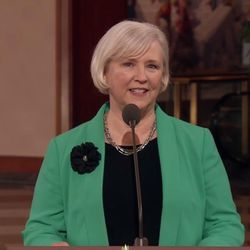 Sister Neill F. Marriott, second counselor in the church's Young Women General Presidency, speaks during the Jan. 27 news conference.